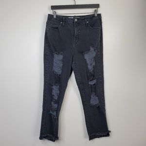 Mossimo Distressed High Rise Mom Jeans 14/32